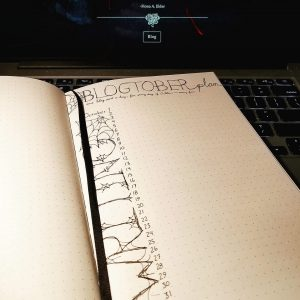 Bujo image of 'Blogtober Plan' with the lettering done in cobwebs