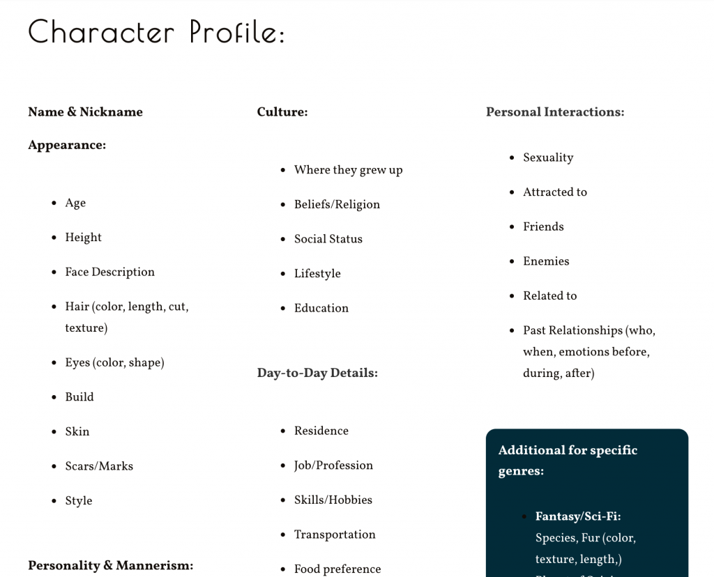 Character Profile screenshot