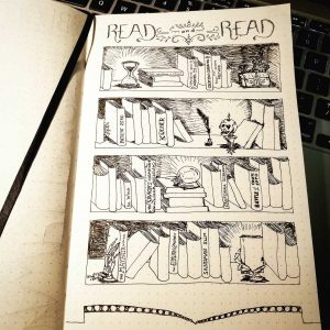 Bujo illustration titled 'Read and Read' of a bookcase with books and decoration including a skull candle, quill, and hour glass.